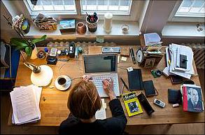 Dr. Gesine Palmer Schreibtisch aus Vogelperspektive (Foto: Nico Mayrock)