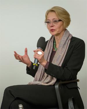 Foto: Gesine Palmer im Podiumsgespräch